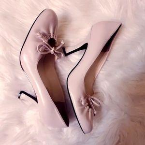 Bisou Bisou cream leather heels shoes sz 7.5